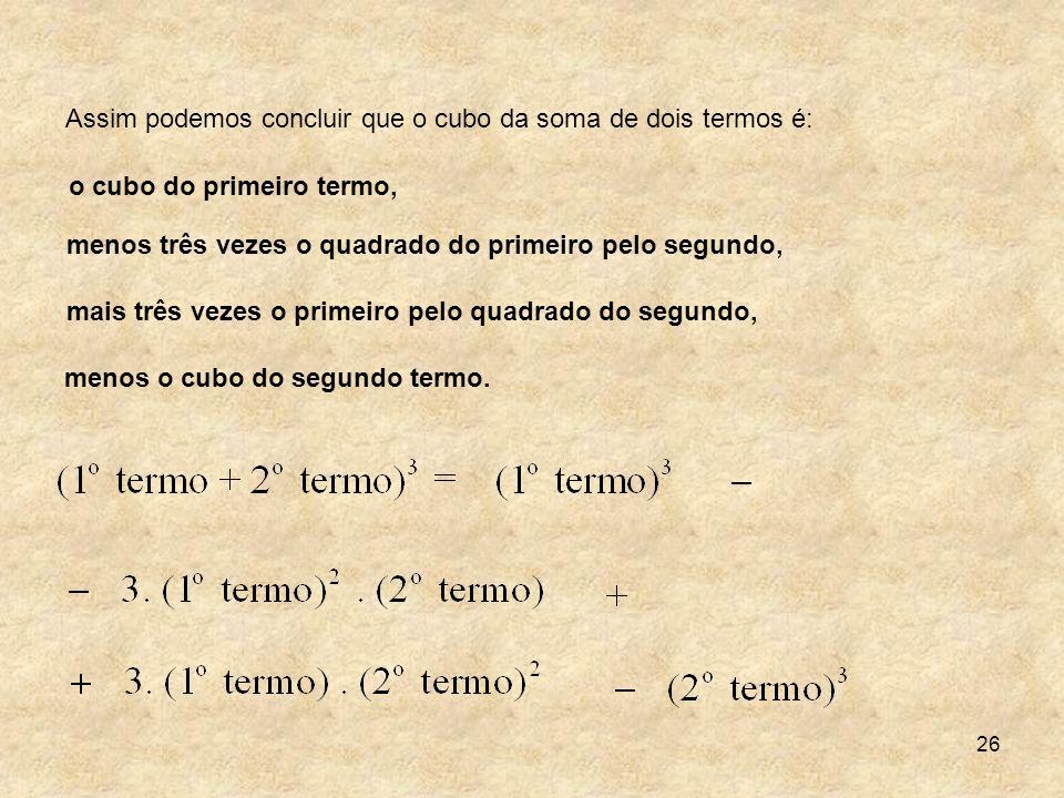 26 Assim podemos concluir que o cubo da soma de dois termos é: o cubo do primeiro termo, menos três vezes o quadrado do primeiro pelo segundo, mais tr