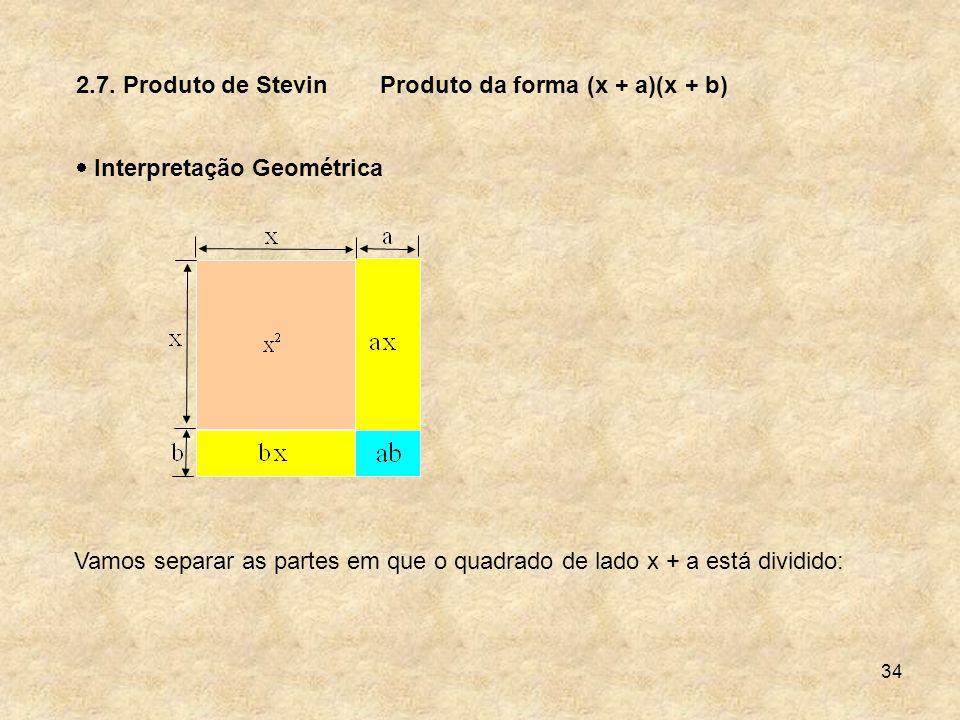 34 2.7. Produto de Stevin Interpretação Geométrica Produto da forma (x + a)(x + b) Vamos separar as partes em que o quadrado de lado x + a está dividi
