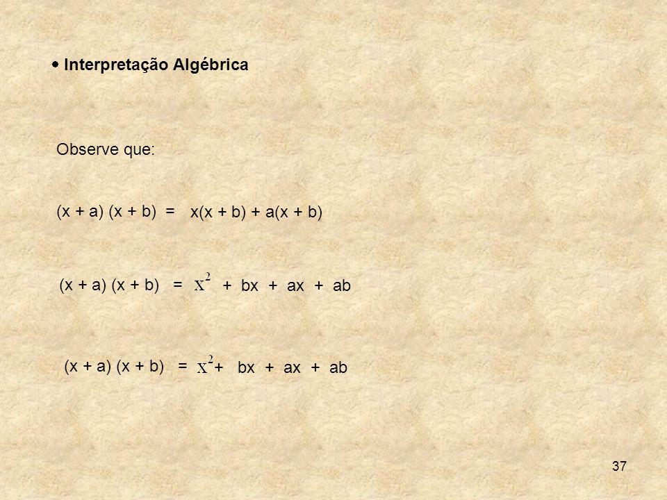 37 Interpretação Algébrica Observe que: (x + a) (x + b) = + bx + ax + ab x(x + b) + a(x + b) + bx + ax + ab