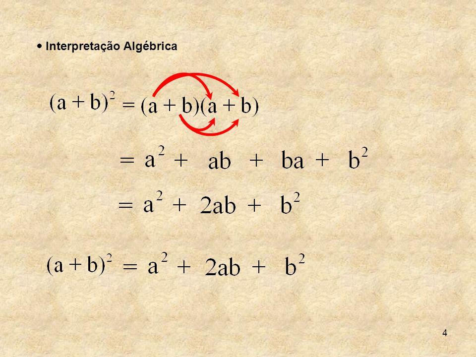 15 Assim podemos concluir que o produto da soma de dois termos pela sua diferença é: o quadrado do primeiro termo, menos o quadrado do segundo termo.