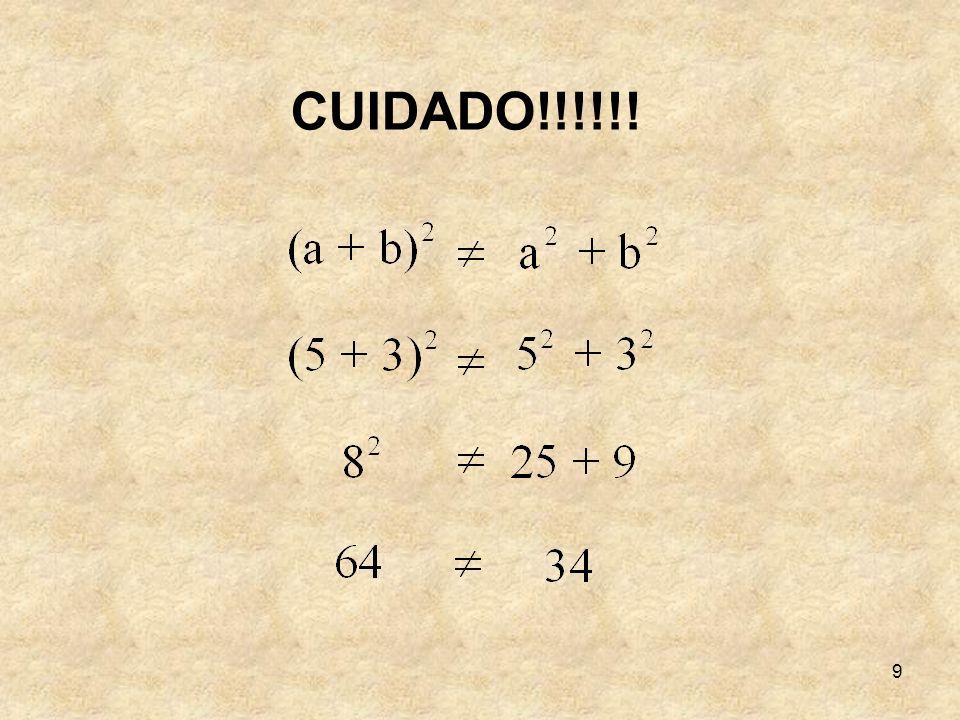 30 Vamos separar as partes em que o quadrado de lado a + b + c está dividido: Um quadrado de aresta a.