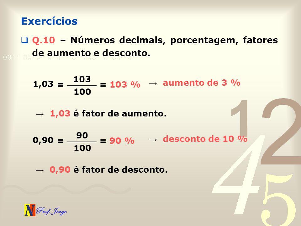 Prof. Jorge Q.10 – Números decimais, porcentagem, fatores de aumento e desconto. Exercícios 1,03 = 103 100 = 103 % 1,03 é fator de aumento. aumento de