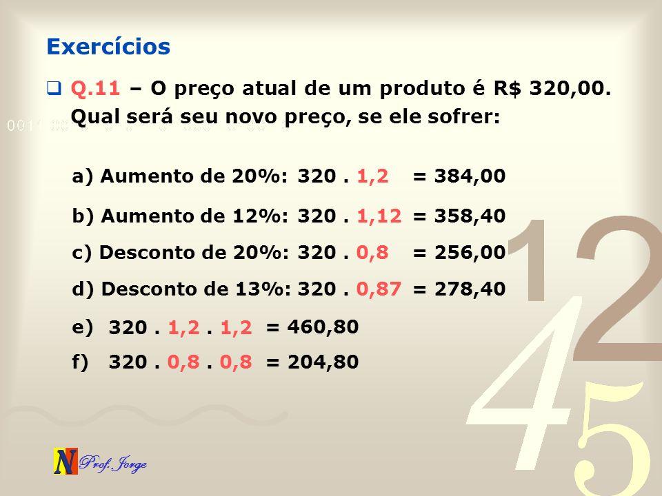 Prof. Jorge Q.11 – O preço atual de um produto é R$ 320,00. Qual será seu novo preço, se ele sofrer: Exercícios a) Aumento de 20%: 320. 1,2 = 384,00 b