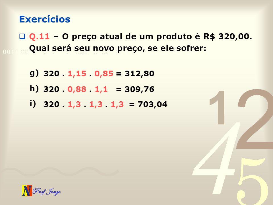 Prof. Jorge Q.11 – O preço atual de um produto é R$ 320,00. Qual será seu novo preço, se ele sofrer: Exercícios g) 320. 1,15. 0,85 = 312,80 h) 320. 0,