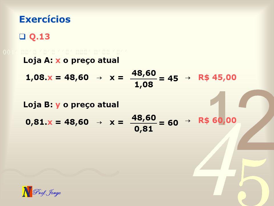 Prof. Jorge Q.13 Exercícios Loja A: x o preço atual 1,08.x = 48,60 x = 48,60 1,08 = 45 Loja B: y o preço atual 0,81.x = 48,60 x = 48,60 0,81 = 60 R$ 4