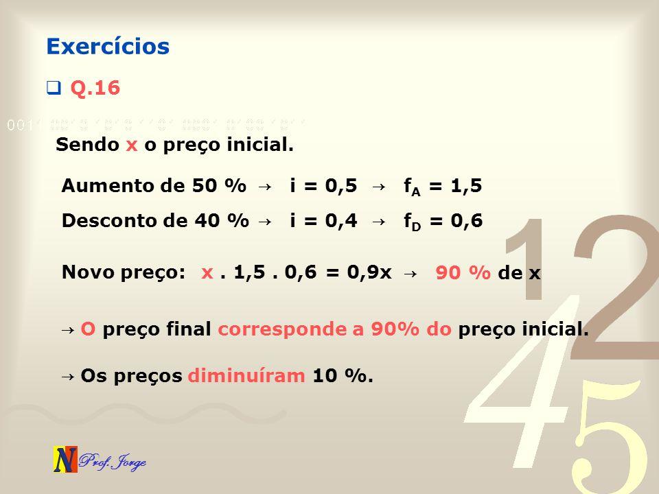 Prof. Jorge Q.16 Exercícios Sendo x o preço inicial. Aumento de 50 % i = 0,5 f A = 1,5 Desconto de 40 % i = 0,4 f D = 0,6 Novo preço:x. 1,5. 0,6 = 0,9
