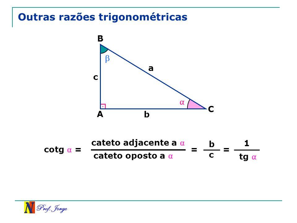 Prof. Jorge Outras razões trigonométricas A B C a b c cateto oposto a = cotg = b c cateto adjacente a = 1 tg