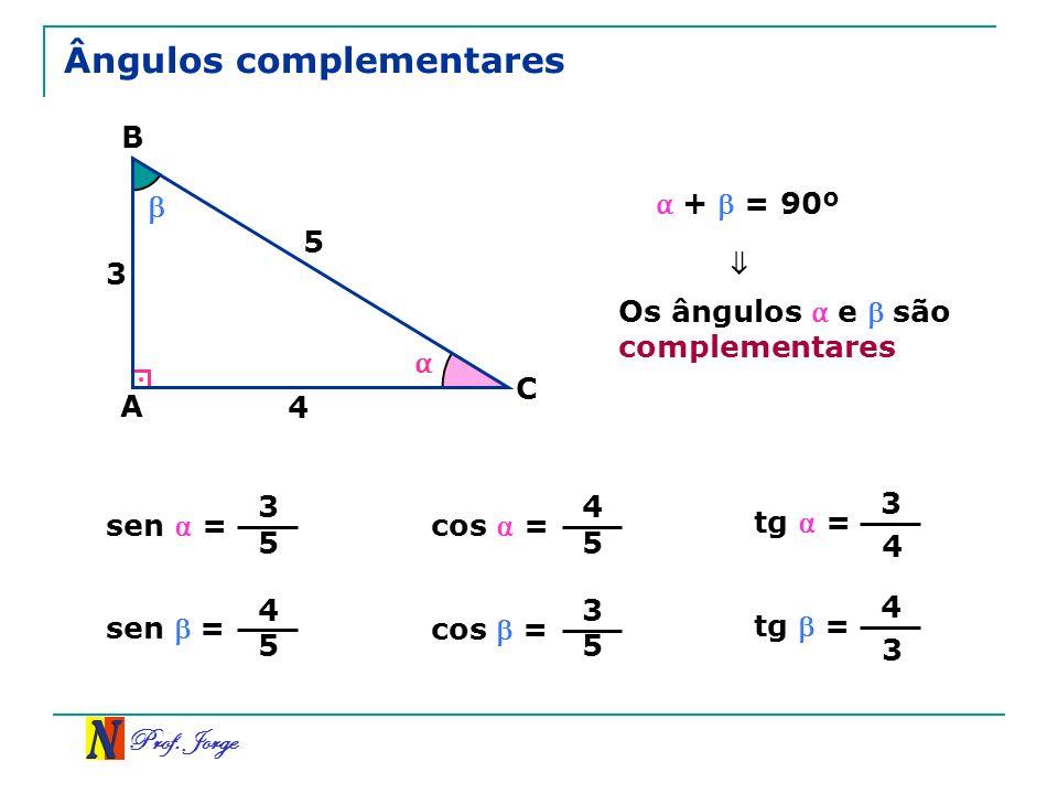 Prof. Jorge Ângulos complementares A B C 5 4 3 + = 90º tg = 3 4 Os ângulos e são complementares sen = 3 5 cos = 4 5 tg = 4 3 sen = 4 5 cos = 3 5
