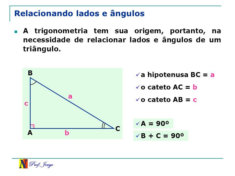Prof. Jorge Relacionando lados e ângulos A trigonometria tem sua origem, portanto, na necessidade de relacionar lados e ângulos de um triângulo. a hip