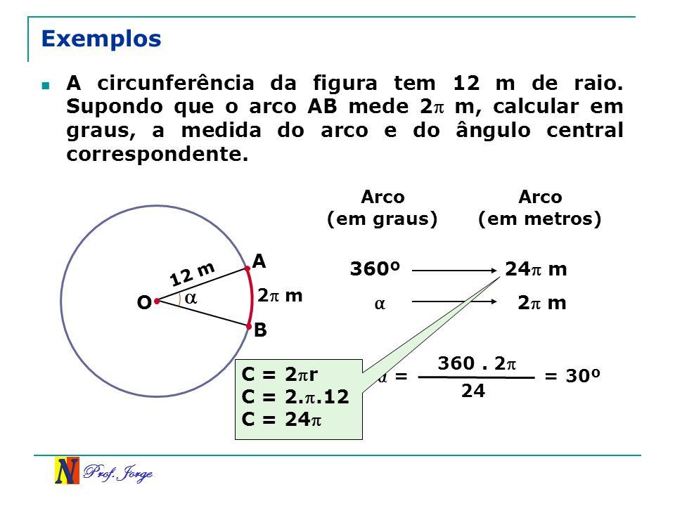 Prof. Jorge Exemplos A circunferência da figura tem 12 m de raio. Supondo que o arco AB mede 2 m, calcular em graus, a medida do arco e do ângulo cent