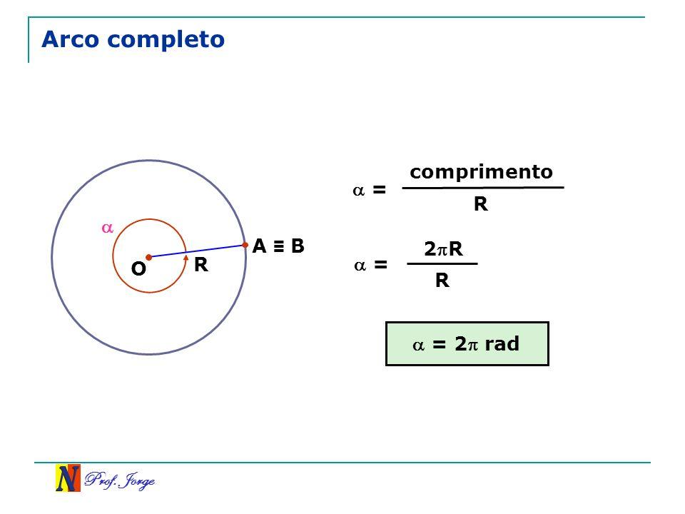 Prof. Jorge Arco completo = comprimento R = 2R R R A B O = 2 rad
