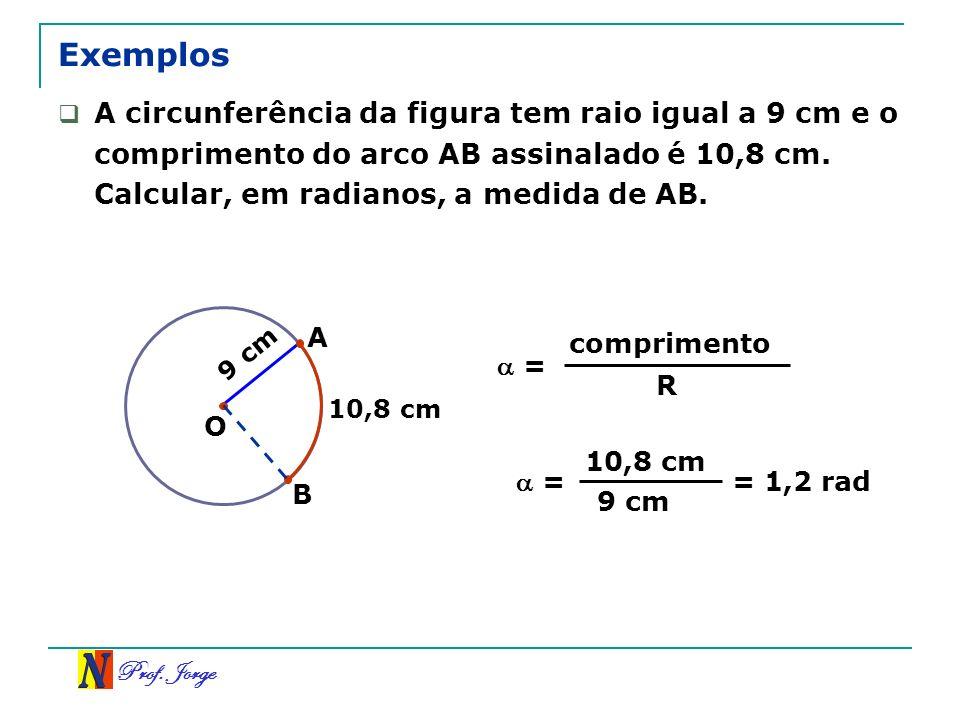 Prof. Jorge 9 cm Exemplos B 10,8 cm A circunferência da figura tem raio igual a 9 cm e o comprimento do arco AB assinalado é 10,8 cm. Calcular, em rad