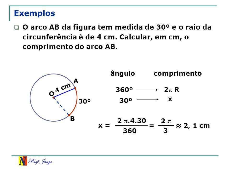 Prof. Jorge 4 cm Exemplos B 30º O arco AB da figura tem medida de 30º e o raio da circunferência é de 4 cm. Calcular, em cm, o comprimento do arco AB.