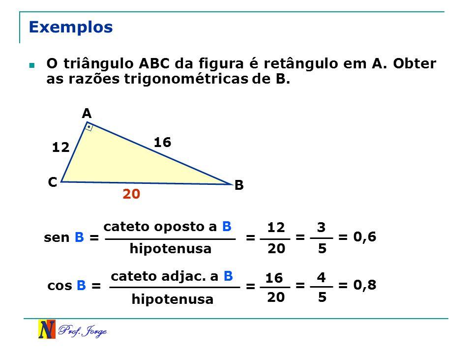 Prof. Jorge Exemplos O triângulo ABC da figura é retângulo em A. Obter as razões trigonométricas de B. cateto oposto a B hipotenusa sen B = = 12 20 =