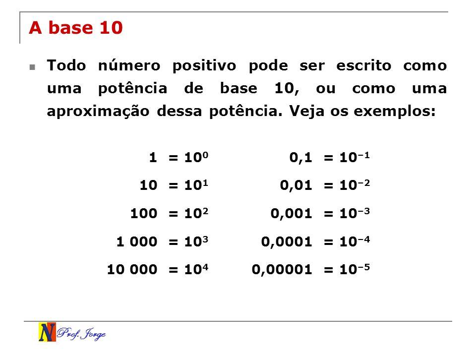 Prof. Jorge A base 10 Todo número positivo pode ser escrito como uma potência de base 10, ou como uma aproximação dessa potência. Veja os exemplos: 1=