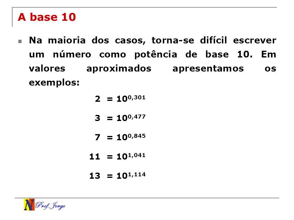 Prof. Jorge A base 10 Na maioria dos casos, torna-se difícil escrever um número como potência de base 10. Em valores aproximados apresentamos os exemp