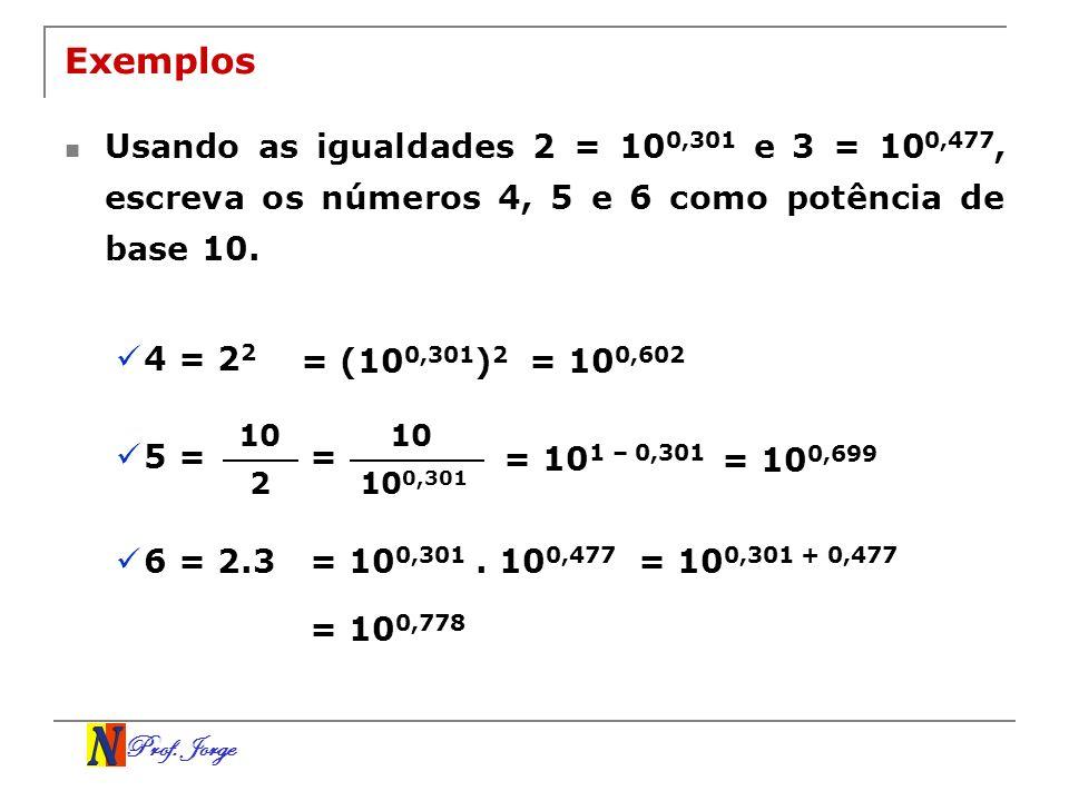 Prof. Jorge Exemplos Usando as igualdades 2 = 10 0,301 e 3 = 10 0,477, escreva os números 4, 5 e 6 como potência de base 10. 4 = 2 2 = (10 0,301 ) 2 =