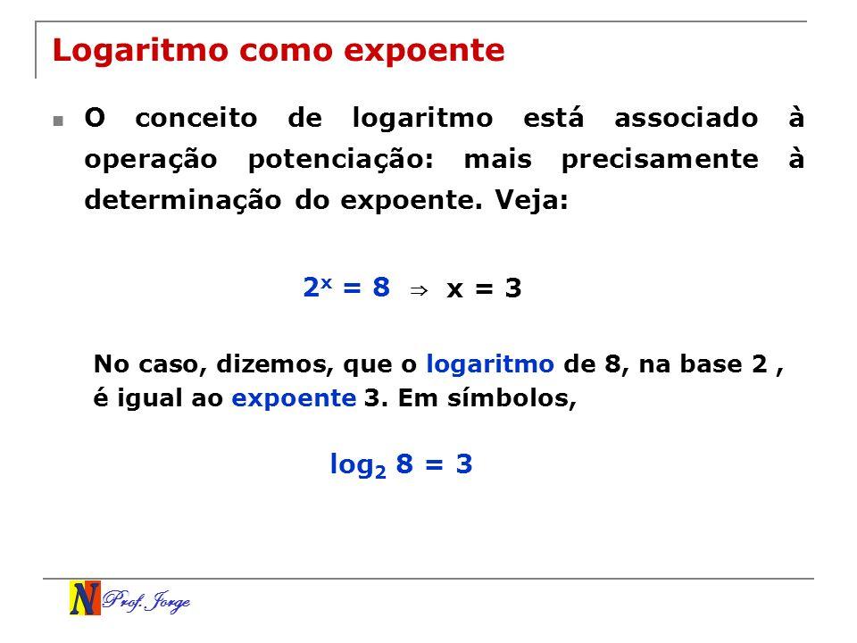 Prof. Jorge Logaritmo como expoente O conceito de logaritmo está associado à operação potenciação: mais precisamente à determinação do expoente. Veja: