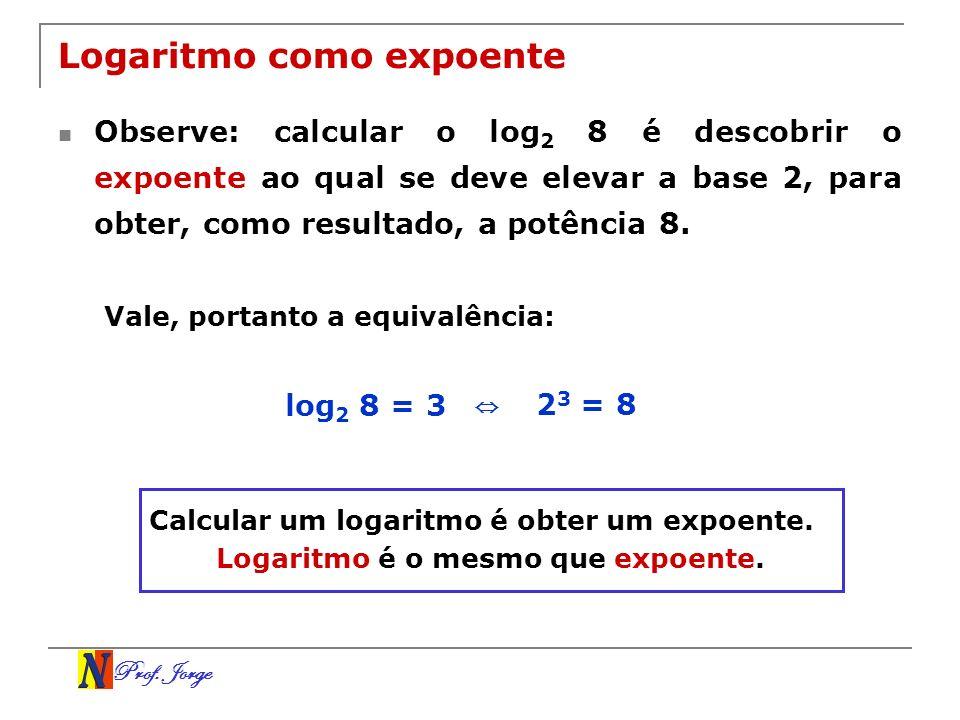 Prof. Jorge Logaritmo como expoente Observe: calcular o log 2 8 é descobrir o expoente ao qual se deve elevar a base 2, para obter, como resultado, a