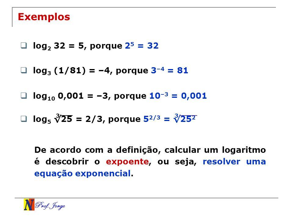 Prof. Jorge log 5 25 = 2/3, porque 5 2/3 = 25 2 Exemplos log 2 32 = 5, porque 2 5 = 32 log 3 (1/81) = –4, porque 3 –4 = 81 log 10 0,001 = –3, porque 1