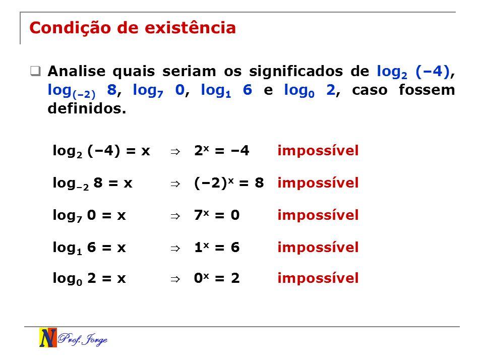 Prof. Jorge Condição de existência Analise quais seriam os significados de log 2 (–4), log (–2) 8, log 7 0, log 1 6 e log 0 2, caso fossem definidos.