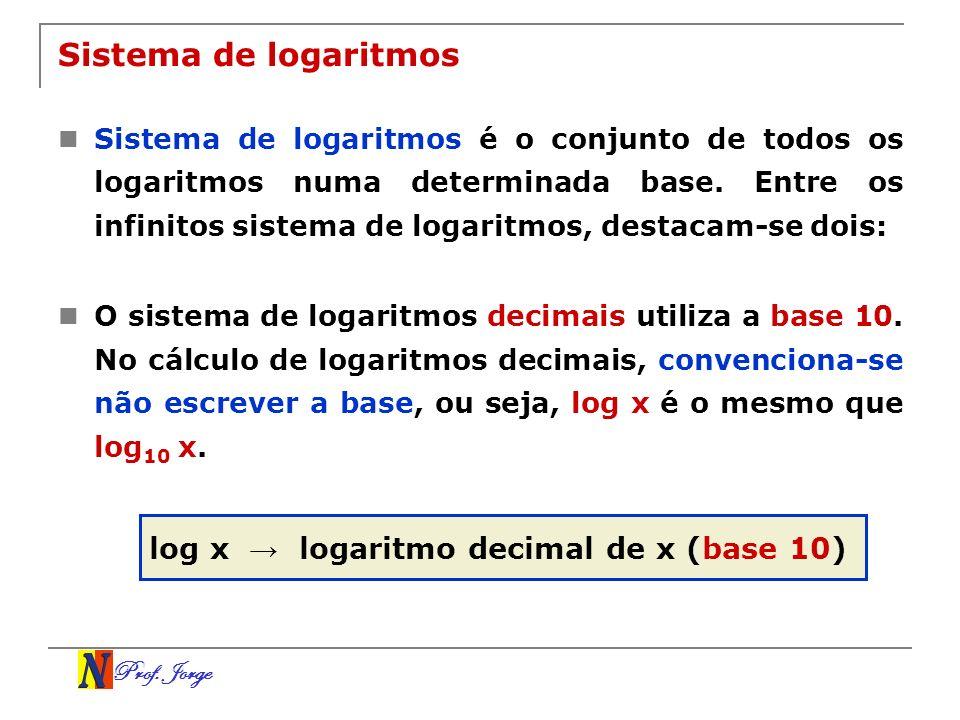 Prof. Jorge Sistema de logaritmos Sistema de logaritmos é o conjunto de todos os logaritmos numa determinada base. Entre os infinitos sistema de logar