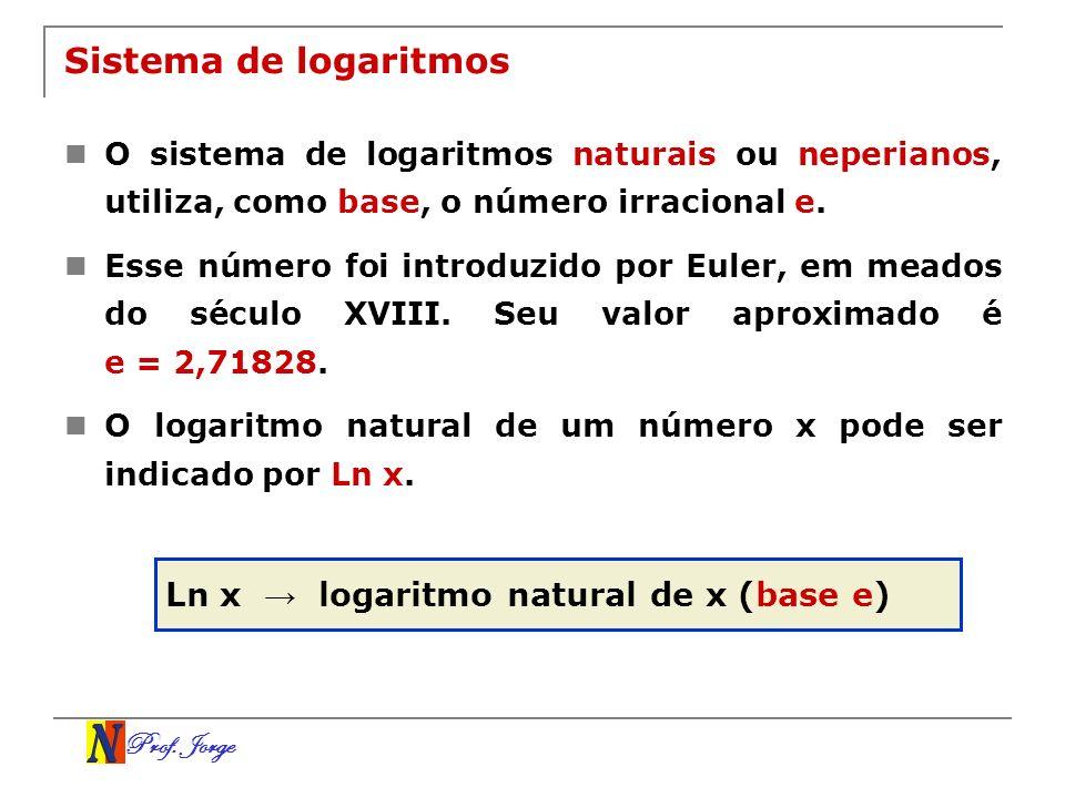 Prof. Jorge Sistema de logaritmos O sistema de logaritmos naturais ou neperianos, utiliza, como base, o número irracional e. Esse número foi introduzi