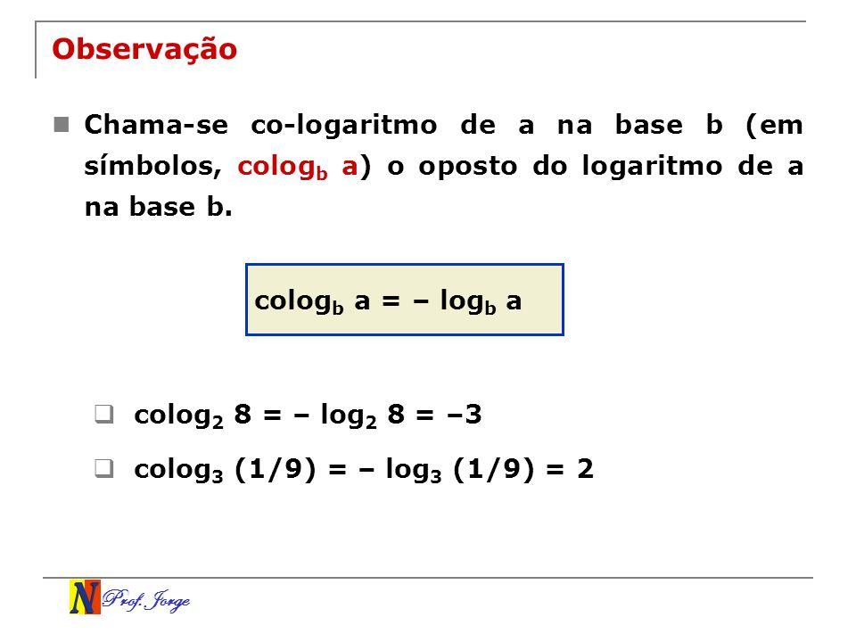 Prof. Jorge Observação Chama-se co-logaritmo de a na base b (em símbolos, colog b a) o oposto do logaritmo de a na base b. colog b a = – log b a colog