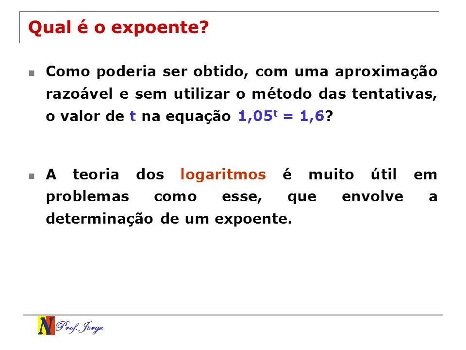 Prof. Jorge Qual é o expoente? Como poderia ser obtido, com uma aproximação razoável e sem utilizar o método das tentativas, o valor de t na equação 1