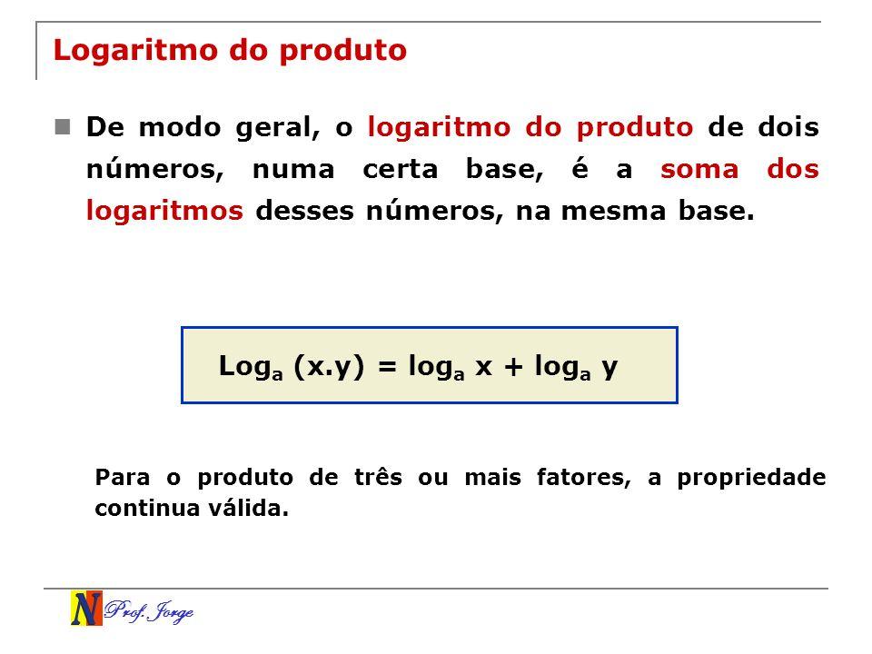 Prof. Jorge Logaritmo do produto De modo geral, o logaritmo do produto de dois números, numa certa base, é a soma dos logaritmos desses números, na me