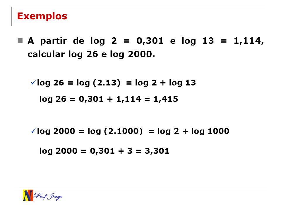 Prof. Jorge Exemplos A partir de log 2 = 0,301 e log 13 = 1,114, calcular log 26 e log 2000. log 26 = log (2.13)= log 2 + log 13 log 26 = 0,301 + 1,11