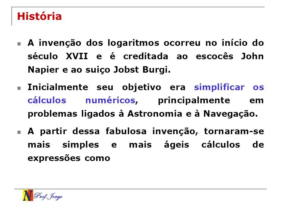 Prof. Jorge História A invenção dos logaritmos ocorreu no início do século XVII e é creditada ao escocês John Napier e ao suiço Jobst Burgi. Inicialme