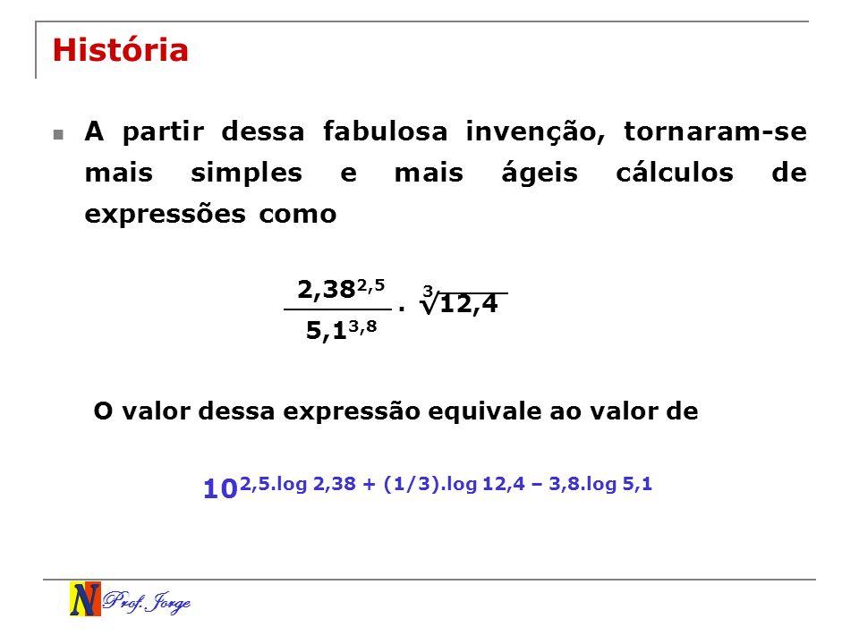 Prof. Jorge História A partir dessa fabulosa invenção, tornaram-se mais simples e mais ágeis cálculos de expressões como 2,38 2,5 5,1 3,8. 12,4 3 O va
