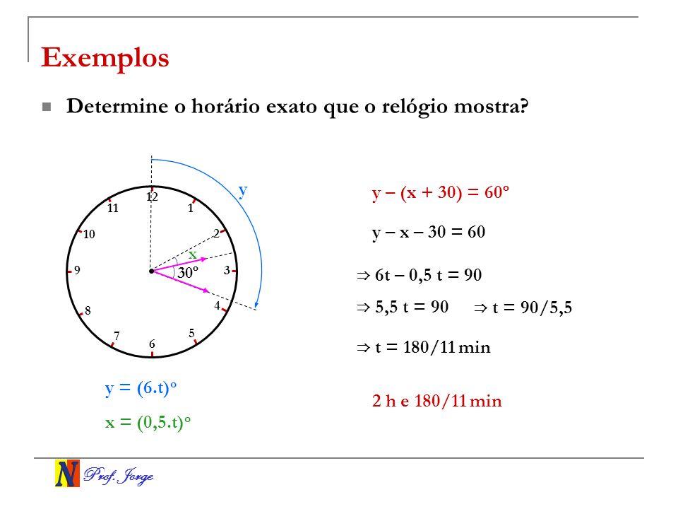 Prof. Jorge x 30º Exemplos Determine o horário exato que o relógio mostra? y = (6.t) o y – x – 30 = 60 6 t – 0,5 t = 90 5,5 t = 90 t = 90/5,5 1 2 3 4