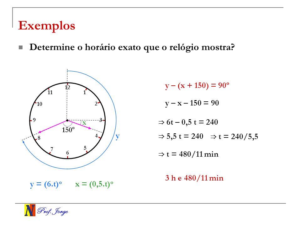 Prof. Jorge x Exemplos Determine o horário exato que o relógio mostra? y = (6.t) o y – x – 150 = 90 6t – 0,5 t = 240 5,5 t = 240 t = 240/5,5 150º 1 2