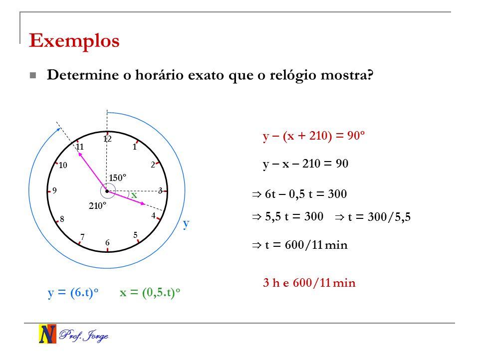 Prof. Jorge x 210º 150º Exemplos Determine o horário exato que o relógio mostra? y = (6.t) o y – x – 210 = 90 6 t – 0,5 t = 300 5,5 t = 300 t = 300/5,