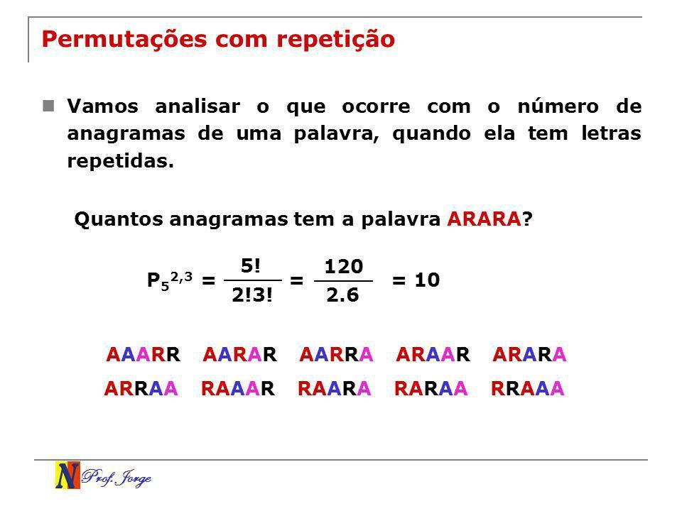 Prof. Jorge Permutações com repetição Vamos analisar o que ocorre com o número de anagramas de uma palavra, quando ela tem letras repetidas. Quantos a