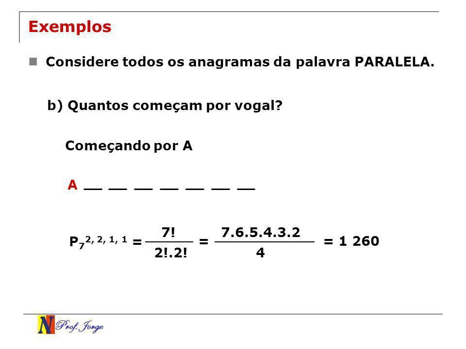 Prof. Jorge Exemplos Considere todos os anagramas da palavra PARALELA. b) Quantos começam por vogal? Começando por A A 7! 2!.2! P 7 2, 2, 1, 1 = = 7.6