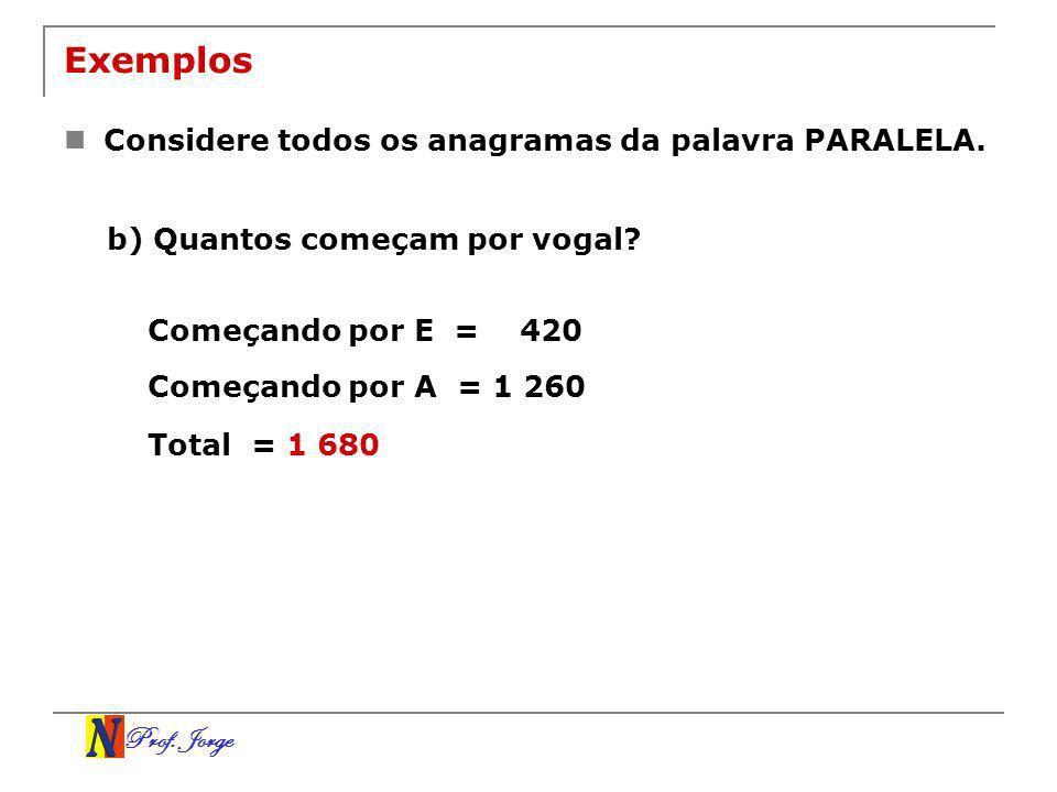 Prof. Jorge Exemplos Considere todos os anagramas da palavra PARALELA. b) Quantos começam por vogal? Começando por E = 420 Começando por A = 1 260 Tot