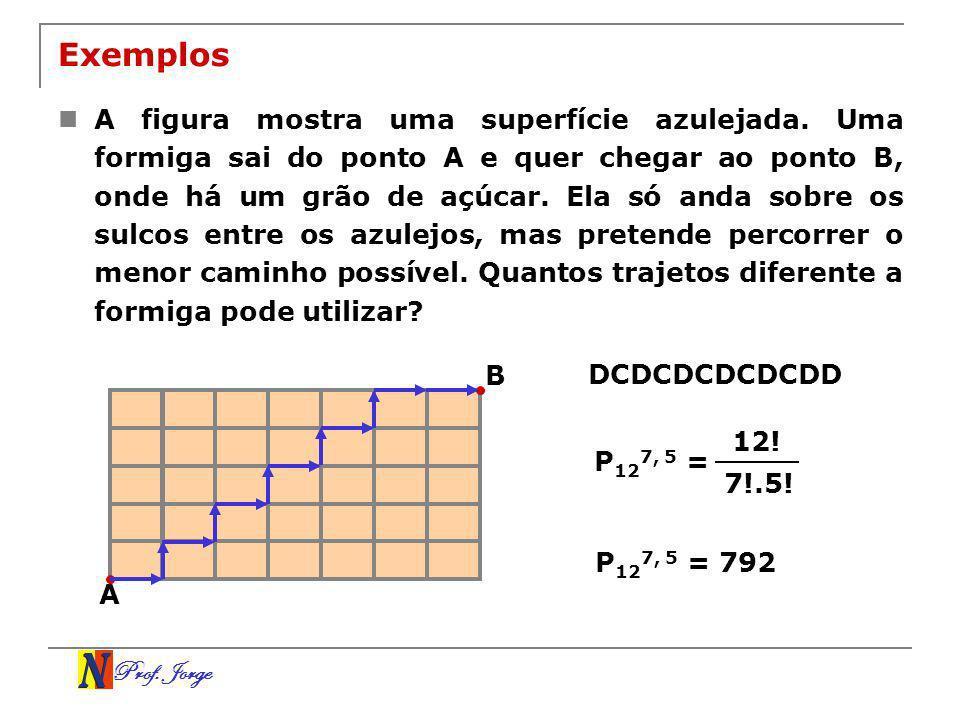 Prof. Jorge Exemplos A figura mostra uma superfície azulejada. Uma formiga sai do ponto A e quer chegar ao ponto B, onde há um grão de açúcar. Ela só
