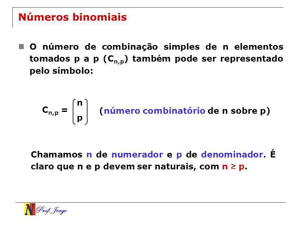 Prof. Jorge Números binomiais O número de combinação simples de n elementos tomados p a p (C n,p ) também pode ser representado pelo símbolo: n p C n,