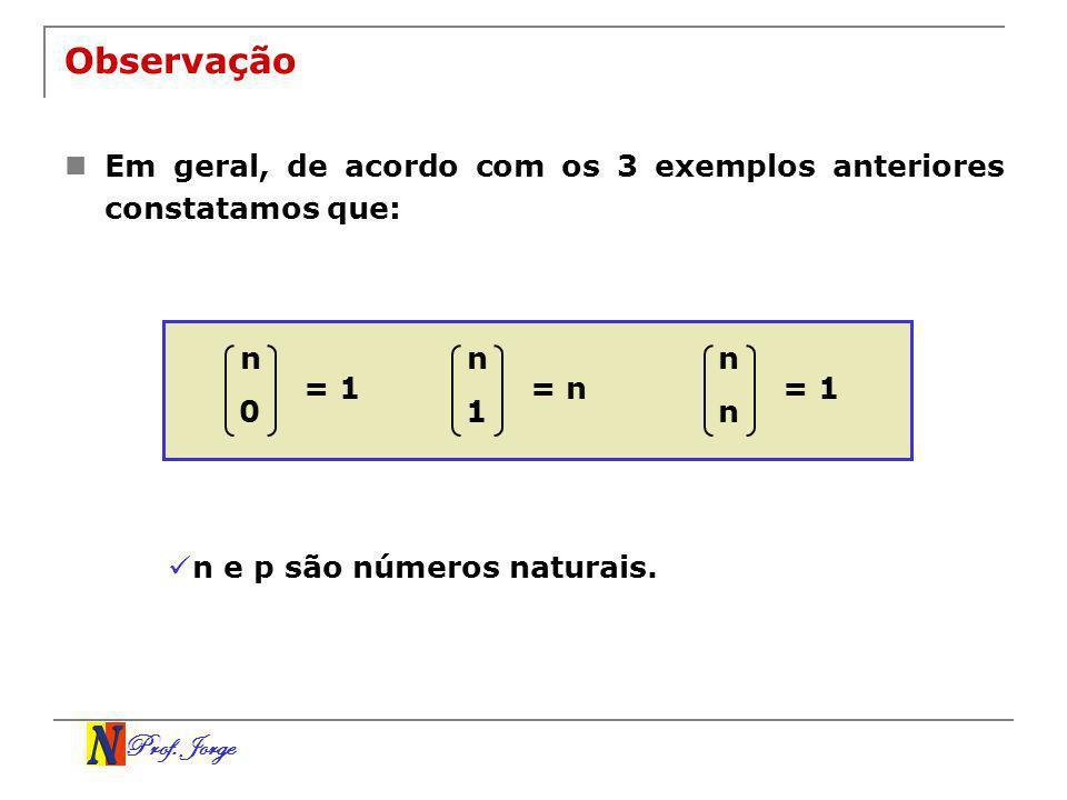 Prof. Jorge Observação Em geral, de acordo com os 3 exemplos anteriores constatamos que: n 0 = 1 n 1 = n n n = 1 n e p são números naturais.