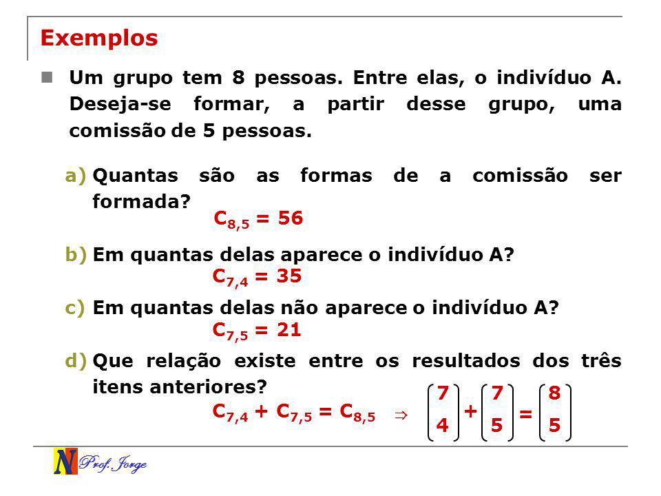 Prof. Jorge Exemplos Um grupo tem 8 pessoas. Entre elas, o indivíduo A. Deseja-se formar, a partir desse grupo, uma comissão de 5 pessoas. a)Quantas s