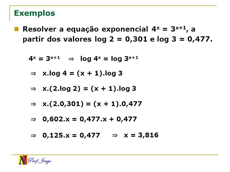 Prof. Jorge Exemplos Resolver a equação exponencial 4 x = 3 x+1, a partir dos valores log 2 = 0,301 e log 3 = 0,477. 4 x = 3 x+1 log 4 x = log 3 x+1 x