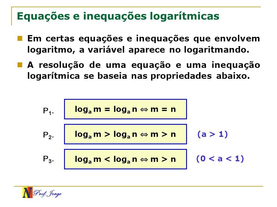 Prof. Jorge Equações e inequações logarítmicas Em certas equações e inequações que envolvem logaritmo, a variável aparece no logaritmando. A resolução