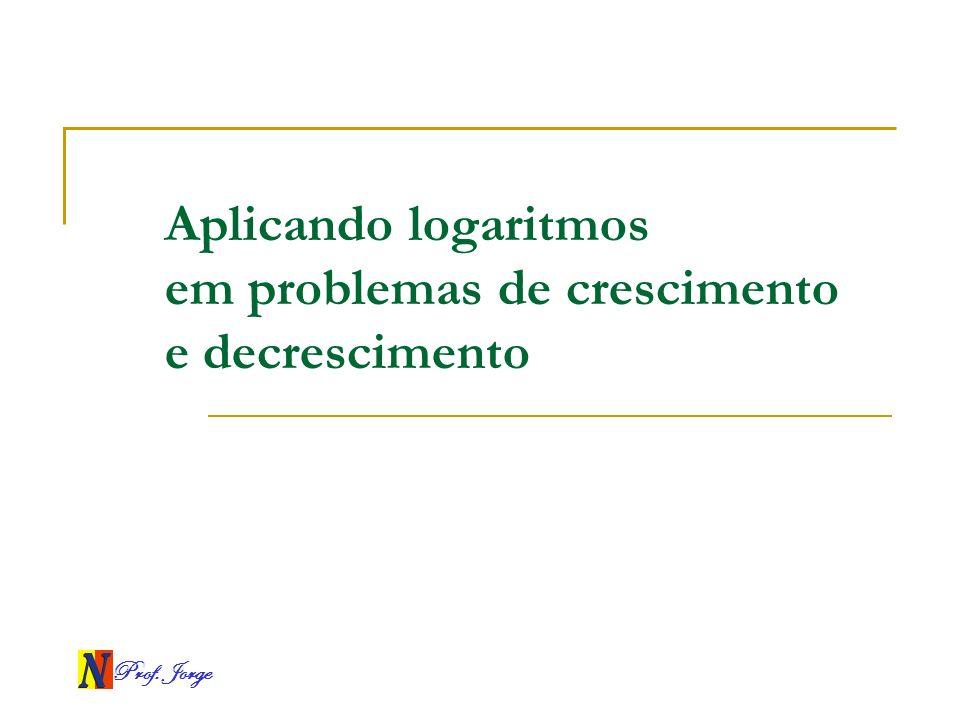Prof. Jorge Aplicando logaritmos em problemas de crescimento e decrescimento