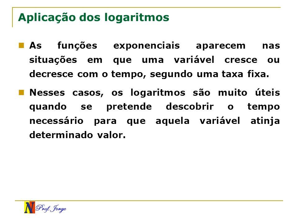 Prof. Jorge Aplicação dos logaritmos As funções exponenciais aparecem nas situações em que uma variável cresce ou decresce com o tempo, segundo uma ta