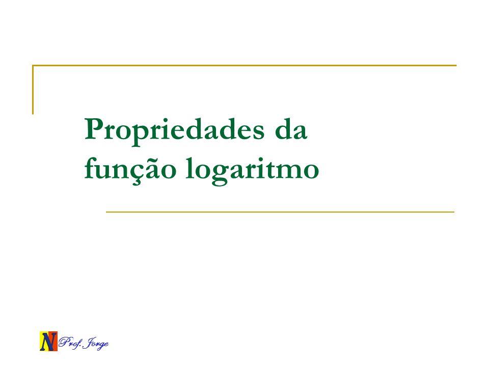 Prof. Jorge Propriedades da função logaritmo