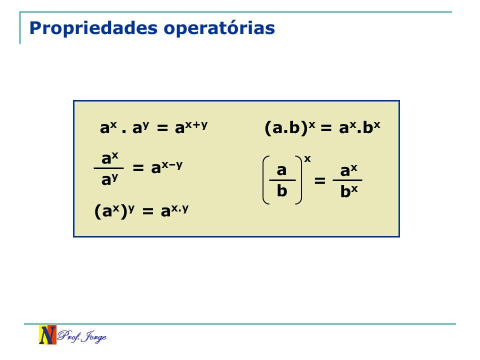 Prof. Jorge a y b Propriedades operatórias a x. a y = a x+y a x = a x–y (a x ) y = a x.y (a.b) x = a x.b x a x b x a x =