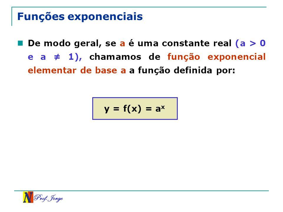 Prof. Jorge Funções exponenciais De modo geral, se a é uma constante real (a > 0 e a 1), chamamos de função exponencial elementar de base a a função d